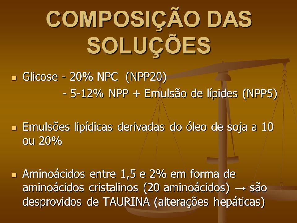 COMPOSIÇÃO DAS SOLUÇÕES Glicose - 20% NPC (NPP20) Glicose - 20% NPC (NPP20) - 5-12% NPP + Emulsão de lípides (NPP5) - 5-12% NPP + Emulsão de lípides (NPP5) Emulsões lipídicas derivadas do óleo de soja a 10 ou 20% Emulsões lipídicas derivadas do óleo de soja a 10 ou 20% Aminoácidos entre 1,5 e 2% em forma de aminoácidos cristalinos (20 aminoácidos) → são desprovidos de TAURINA (alterações hepáticas) Aminoácidos entre 1,5 e 2% em forma de aminoácidos cristalinos (20 aminoácidos) → são desprovidos de TAURINA (alterações hepáticas)