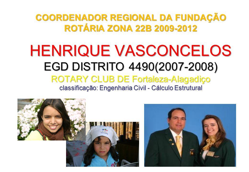 1 HENRIQUE VASCONCELOS EGD DISTRITO 4490(2007-2008) ROTARY CLUB DE Fortaleza-Alagadiço classificação: Engenharia Civil - Cálculo Estrutural COORDENADO