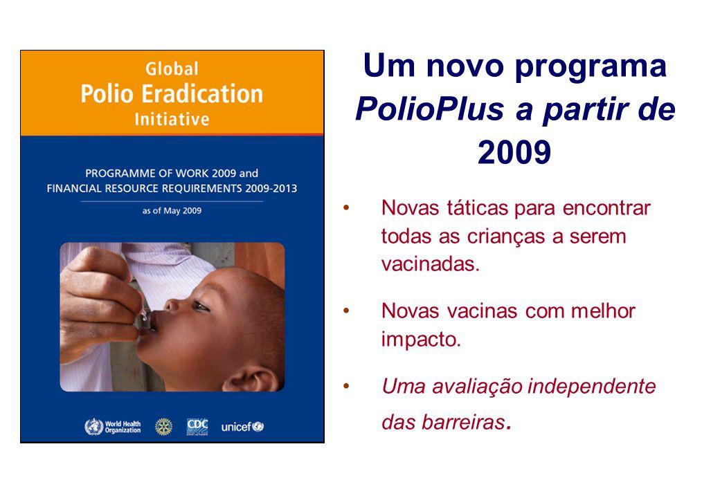 Um novo programa PolioPlus a partir de 2009 Novas táticas para encontrar todas as crianças a serem vacinadas. Novas vacinas com melhor impacto. Uma av