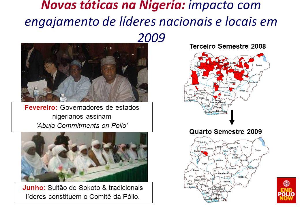 Junho: Sultão de Sokoto & tradicionais líderes constituem o Comitê da Pólio. Fevereiro: Governadores de estados nigerianos assinam 'Abuja Commitments