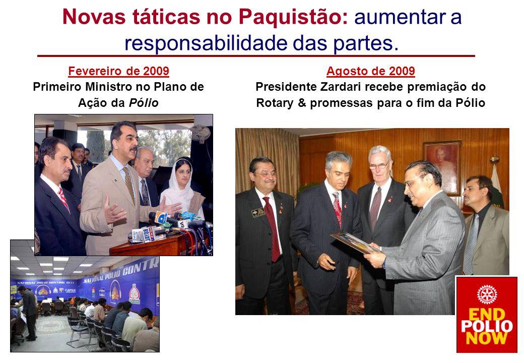 Fevereiro de 2009 Primeiro Ministro no Plano de Ação da Pólio Agosto de 2009 Presidente Zardari recebe premiação do Rotary & promessas para o fim da P