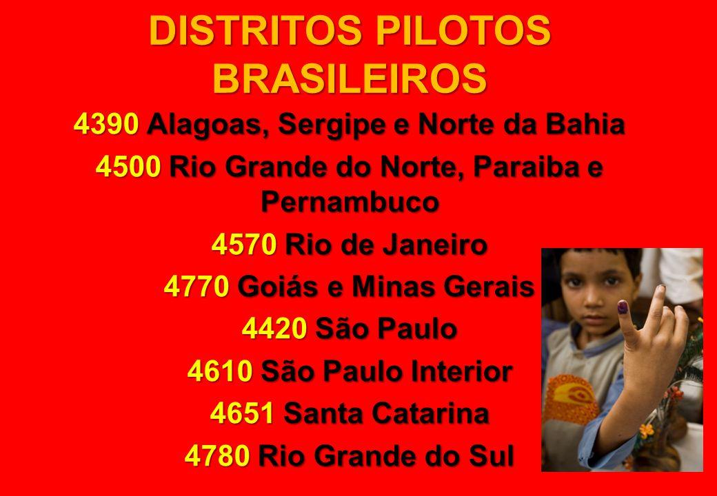 DISTRITOS PILOTOS BRASILEIROS 4390 Alagoas, Sergipe e Norte da Bahia 4500 Rio Grande do Norte, Paraiba e Pernambuco 4570 Rio de Janeiro 4770 Goiás e M