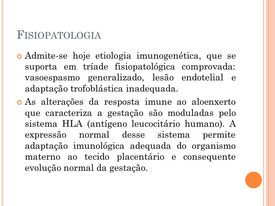F ISIOPATOLOGIA Admite-se hoje etiologia imunogenética, que se suporta em tríade fisiopatológica comprovada: vasoespasmo generalizado, lesão endotelial e adaptação trofoblástica inadequada.