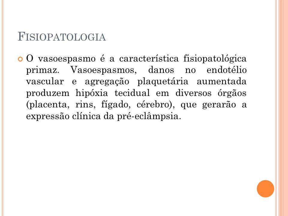 F ISIOPATOLOGIA O vasoespasmo é a característica fisiopatológica primaz.