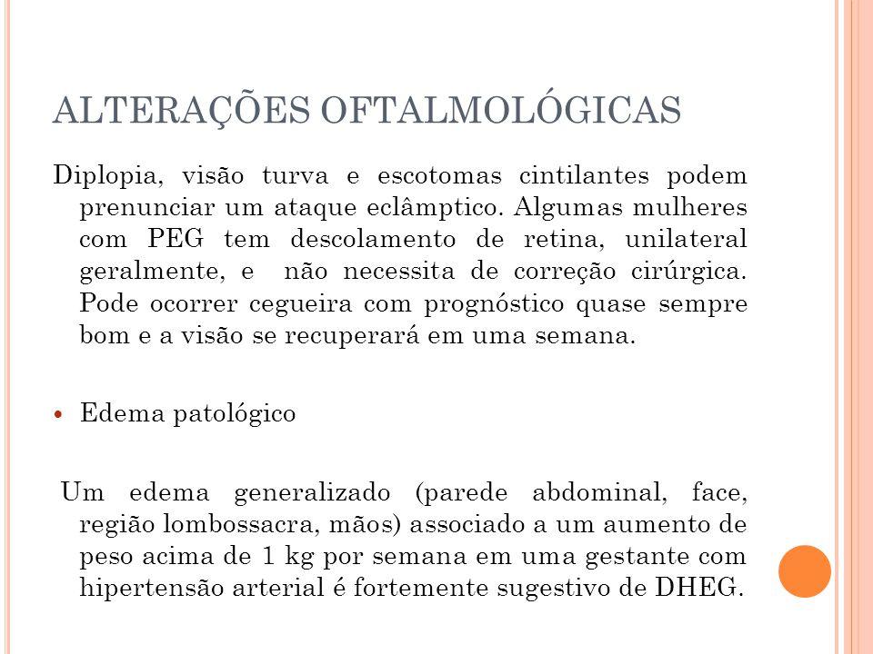 ALTERAÇÕES OFTALMOLÓGICAS Diplopia, visão turva e escotomas cintilantes podem prenunciar um ataque eclâmptico.