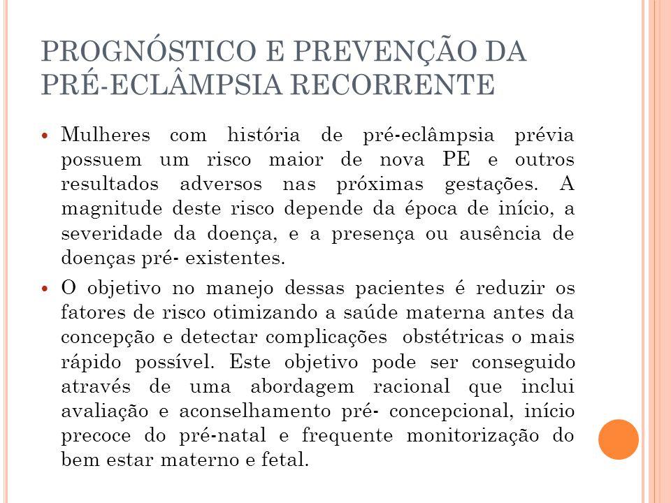 PROGNÓSTICO E PREVENÇÃO DA PRÉ-ECLÂMPSIA RECORRENTE Mulheres com história de pré-eclâmpsia prévia possuem um risco maior de nova PE e outros resultados adversos nas próximas gestações.