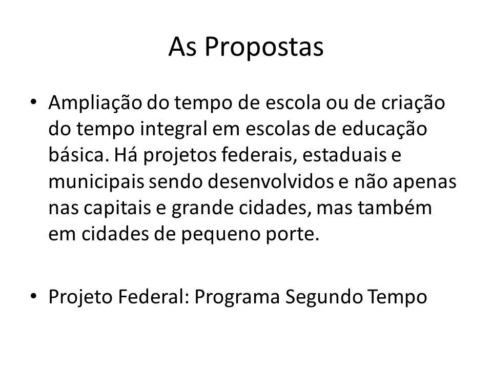 As Propostas Ampliação do tempo de escola ou de criação do tempo integral em escolas de educação básica. Há projetos federais, estaduais e municipais