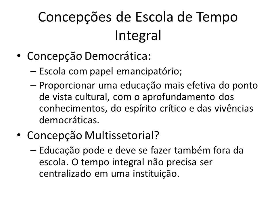 Concepções de Escola de Tempo Integral Concepção Democrática: – Escola com papel emancipatório; – Proporcionar uma educação mais efetiva do ponto de v