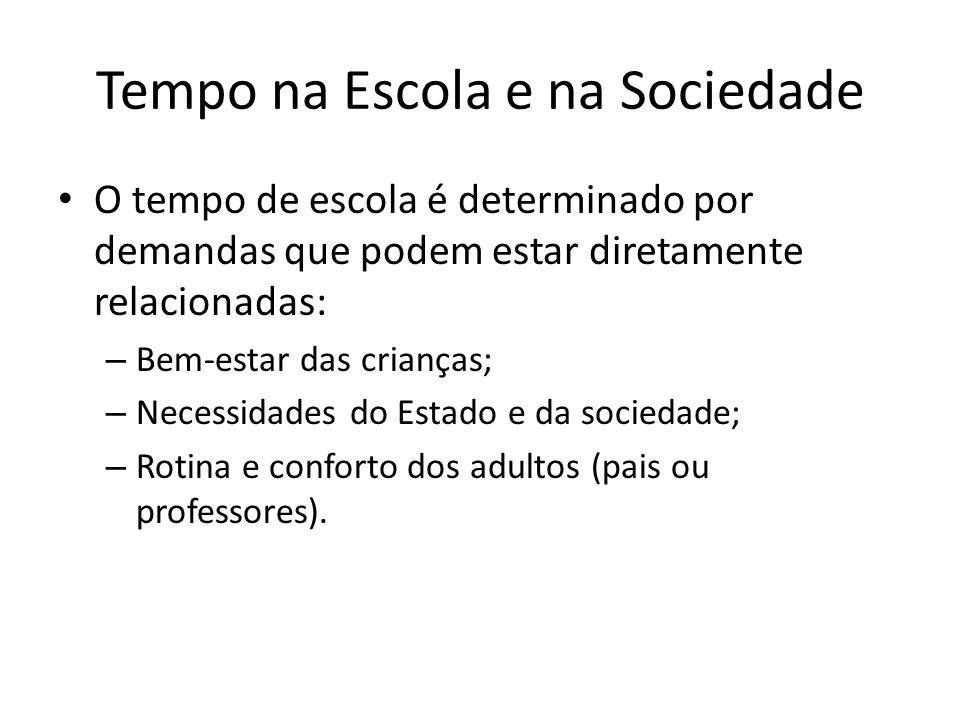 Tempo na Escola e na Sociedade O tempo de escola é determinado por demandas que podem estar diretamente relacionadas: – Bem-estar das crianças; – Nece