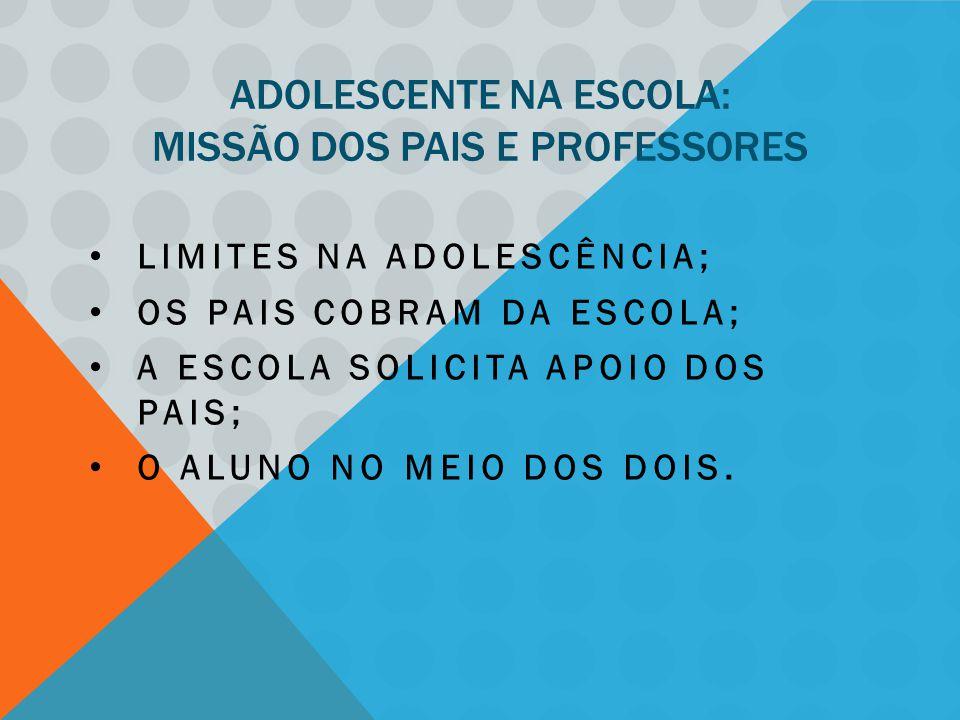 ADOLESCENTE NA ESCOLA: MISSÃO DOS PAIS E PROFESSORES LIMITES NA ADOLESCÊNCIA; OS PAIS COBRAM DA ESCOLA; A ESCOLA SOLICITA APOIO DOS PAIS; O ALUNO NO MEIO DOS DOIS.