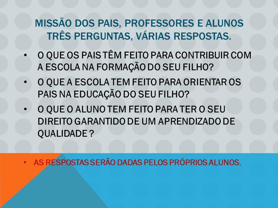 MISSÃO DOS PAIS, PROFESSORES E ALUNOS TRÊS PERGUNTAS, VÁRIAS RESPOSTAS.