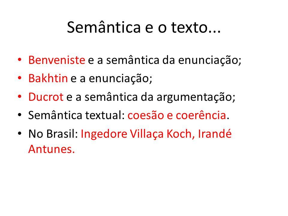 Semântica e o texto... Benveniste e a semântica da enunciação; Bakhtin e a enunciação; Ducrot e a semântica da argumentação; Semântica textual: coesão