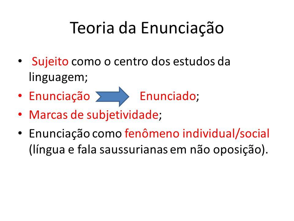 Teoria da Enunciação Sujeito como o centro dos estudos da linguagem; Enunciação Enunciado; Marcas de subjetividade; Enunciação como fenômeno individua