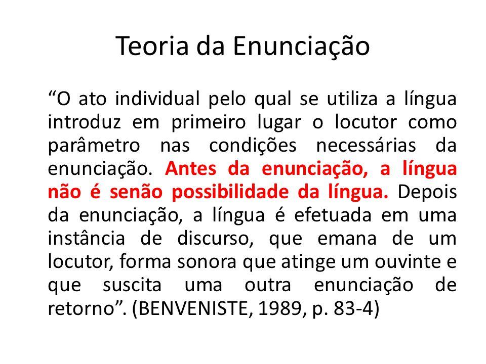 """Teoria da Enunciação """"O ato individual pelo qual se utiliza a língua introduz em primeiro lugar o locutor como parâmetro nas condições necessárias da"""