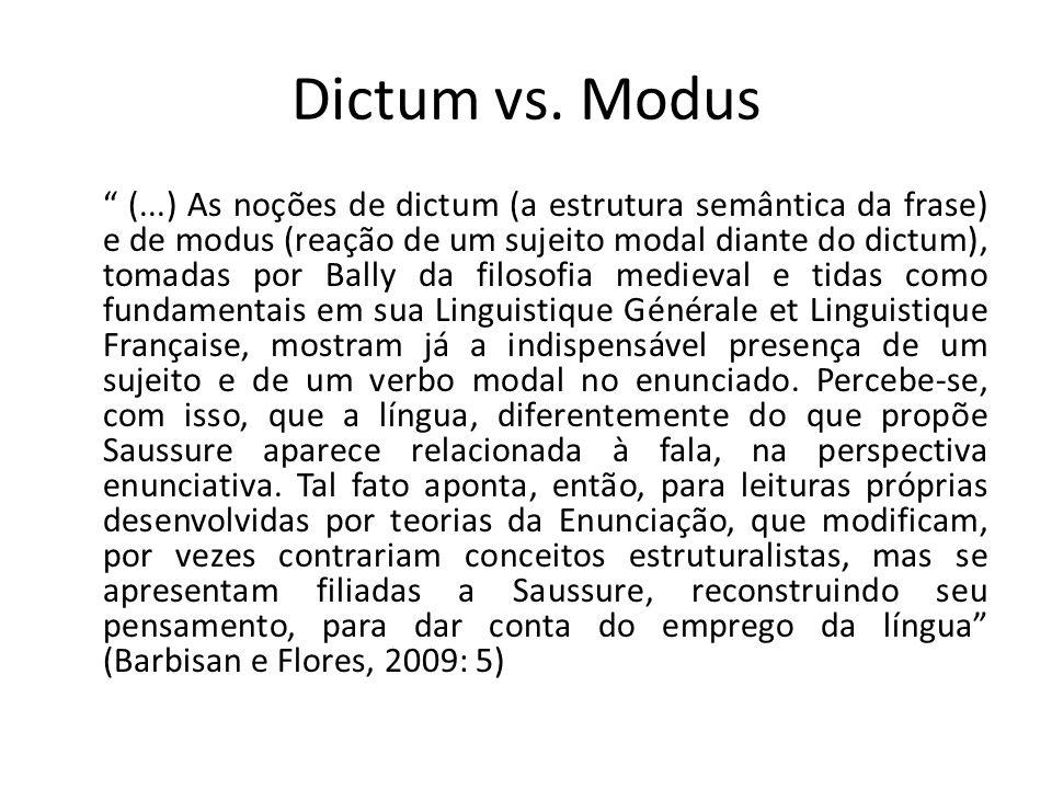 """"""" (...) As noções de dictum (a estrutura semântica da frase) e de modus (reação de um sujeito modal diante do dictum), tomadas por Bally da filosofia"""