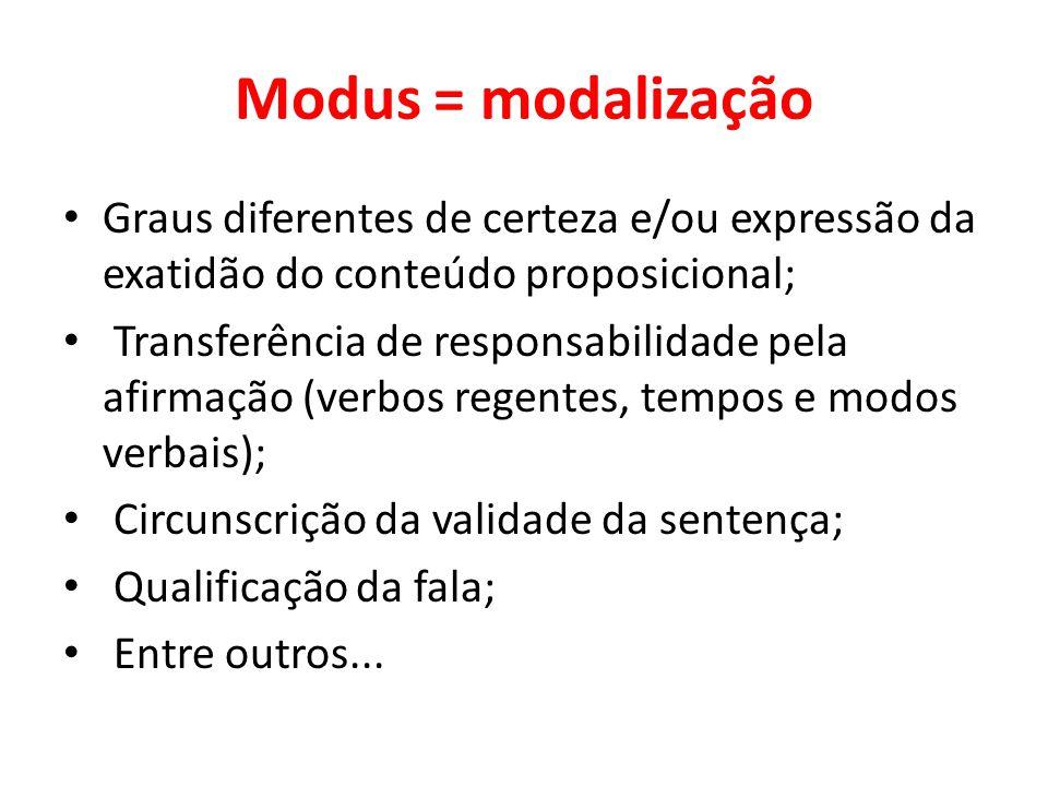 Modus = modalização Graus diferentes de certeza e/ou expressão da exatidão do conteúdo proposicional; Transferência de responsabilidade pela afirmação
