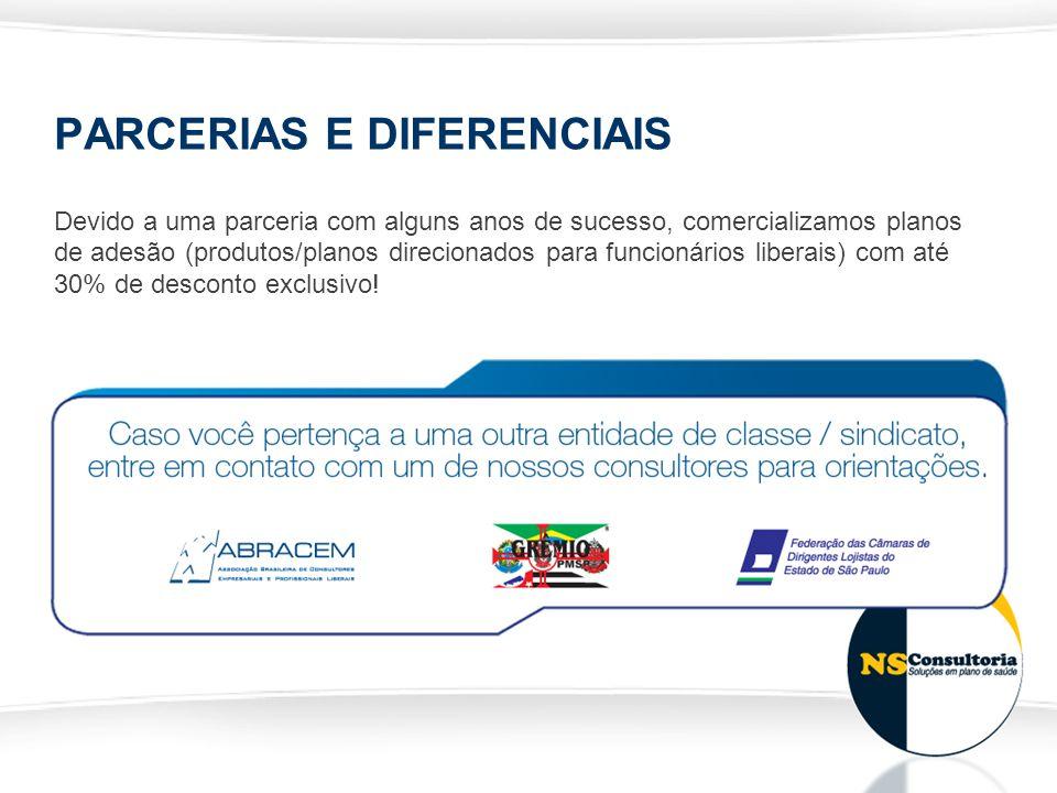 PARCERIAS E DIFERENCIAIS Devido a uma parceria com alguns anos de sucesso, comercializamos planos de adesão (produtos/planos direcionados para funcion