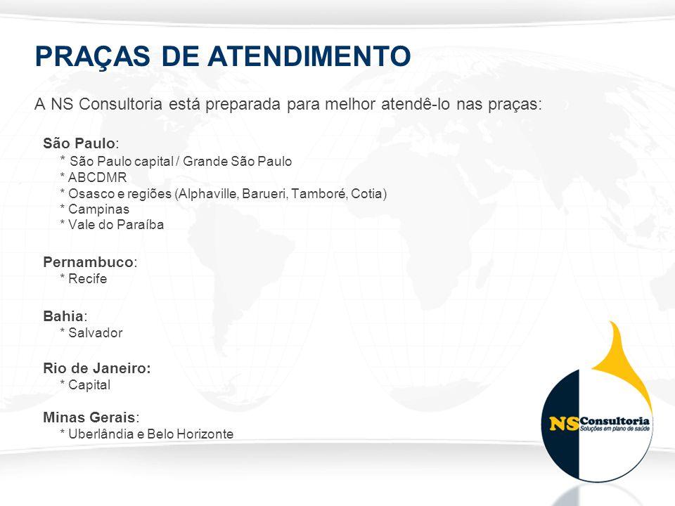 PRAÇAS DE ATENDIMENTO A NS Consultoria está preparada para melhor atendê-lo nas praças: São Paulo: * São Paulo capital / Grande São Paulo * ABCDMR * O