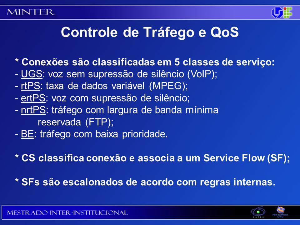 * Conexões são classificadas em 5 classes de serviço: - UGS: voz sem supressão de silêncio (VoIP); - rtPS: taxa de dados variável (MPEG); - ertPS: voz com supressão de silêncio; - nrtPS: tráfego com largura de banda mínima reservada (FTP); - BE: tráfego com baixa prioridade.