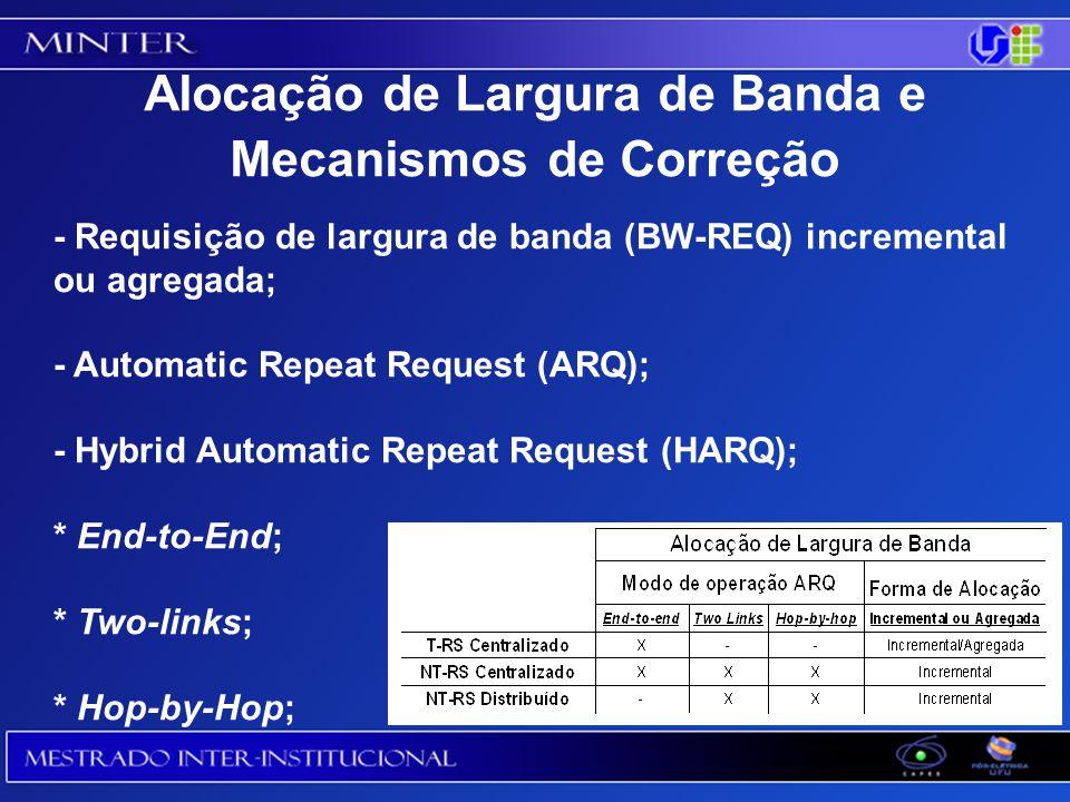 - Requisição de largura de banda (BW-REQ) incremental ou agregada; - Automatic Repeat Request (ARQ); - Hybrid Automatic Repeat Request (HARQ); * End-to-End; * Two-links; * Hop-by-Hop; Alocação de Largura de Banda e Mecanismos de Correção