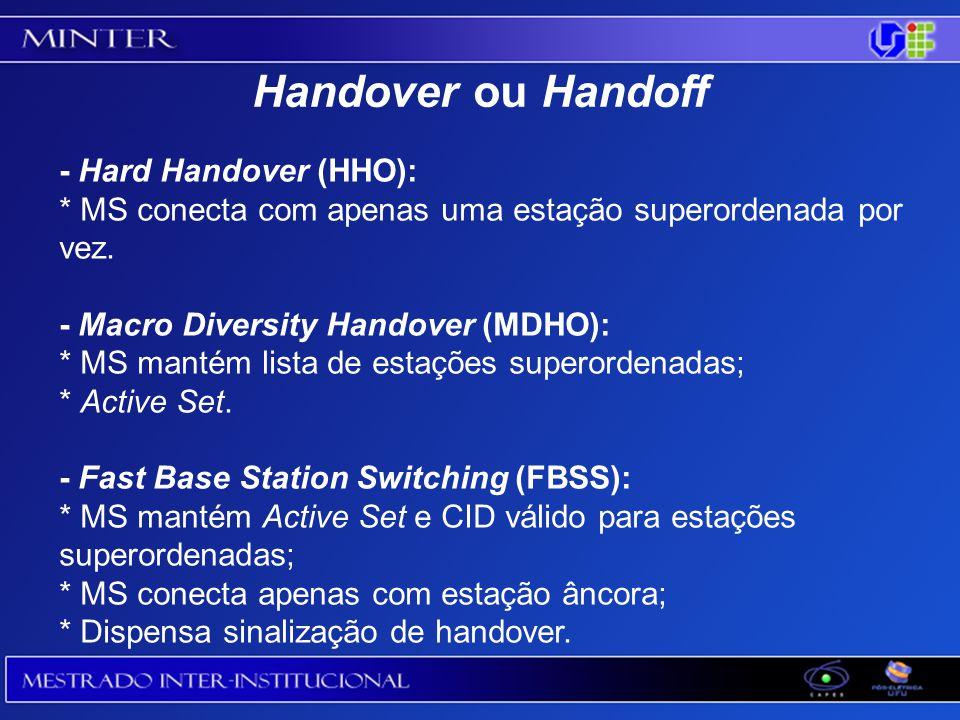 - Hard Handover (HHO): * MS conecta com apenas uma estação superordenada por vez.