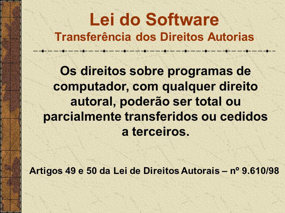 Lei do Software Transferência dos Direitos Autorias Os direitos sobre programas de computador, com qualquer direito autoral, poderão ser total ou parc
