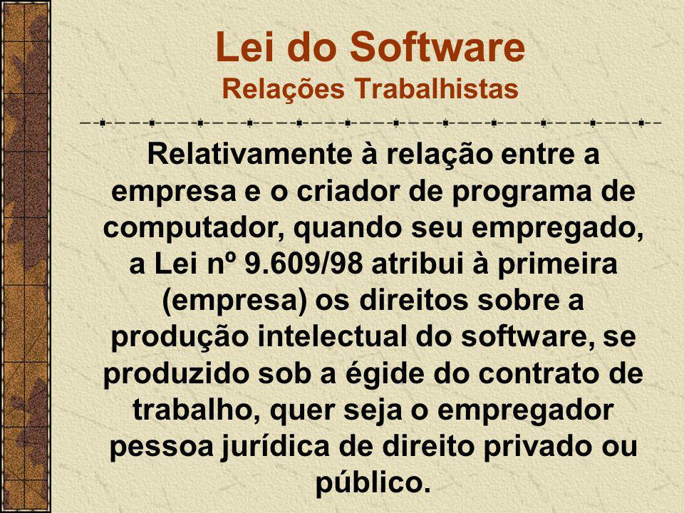 Lei do Software Relações Trabalhistas Relativamente à relação entre a empresa e o criador de programa de computador, quando seu empregado, a Lei nº 9.