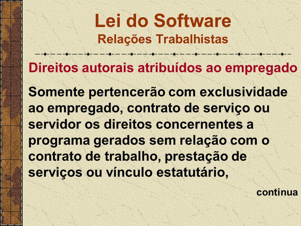 Lei do Software Relações Trabalhistas Direitos autorais atribuídos ao empregado Somente pertencerão com exclusividade ao empregado, contrato de serviç