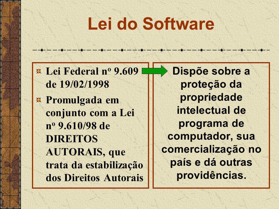 Lei do Software Lei Federal n o 9.609 de 19/02/1998 Promulgada em conjunto com a Lei n o 9.610/98 de DIREITOS AUTORAIS, que trata da estabilização dos