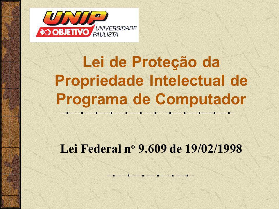 Lei de Proteção da Propriedade Intelectual de Programa de Computador Lei Federal n o 9.609 de 19/02/1998