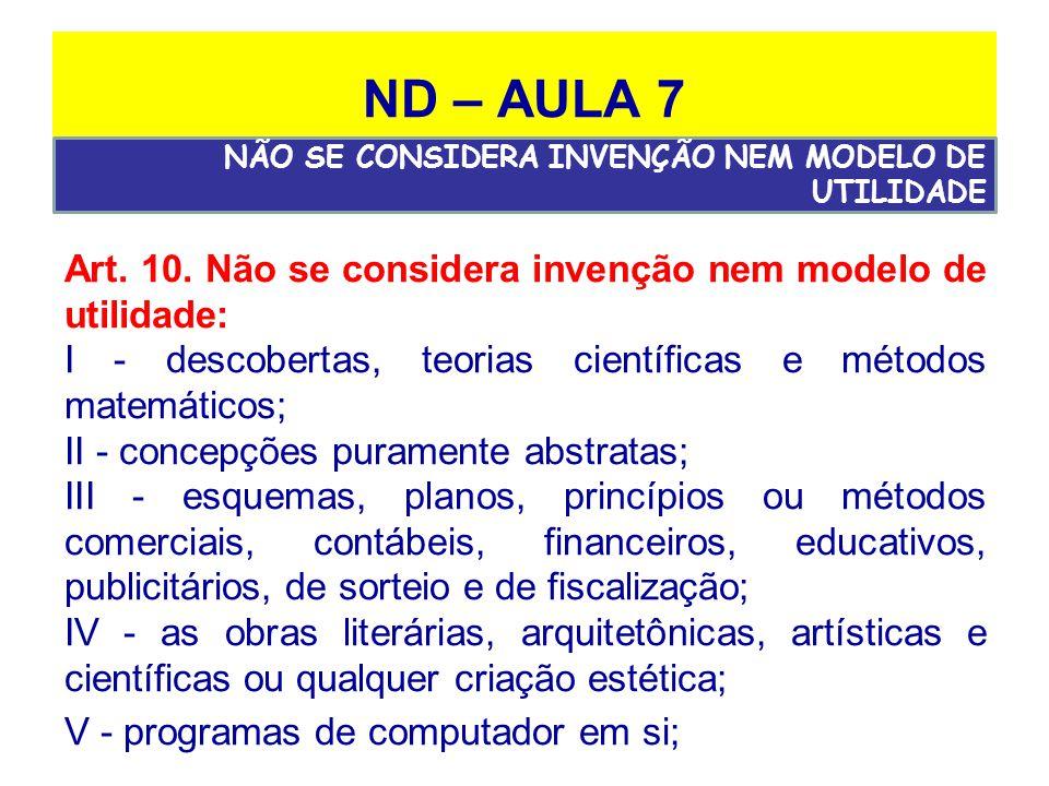 ND – AULA 7 Art.10.