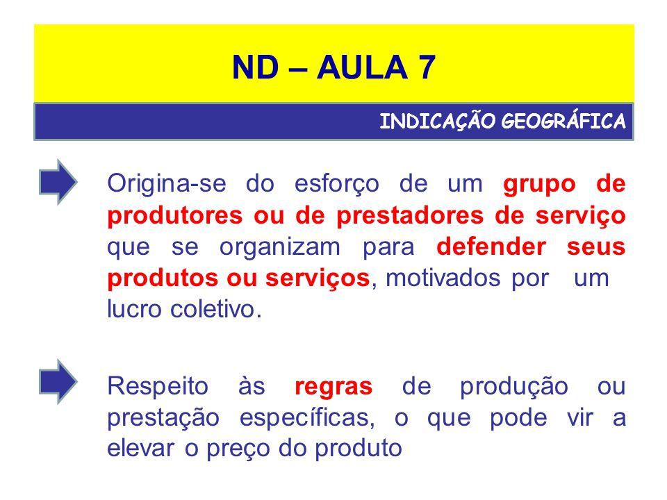 ND – AULA 7 Origina-se do esforço de um grupo de produtores ou de prestadores de serviço que se organizam para defender seus produtos ou serviços, motivados por um lucro coletivo.