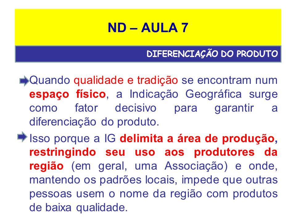 ND – AULA 7 Quando qualidade e tradição se encontram num espaço físico, a Indicação Geográfica surge como fator decisivo para garantir a diferenciação do produto.