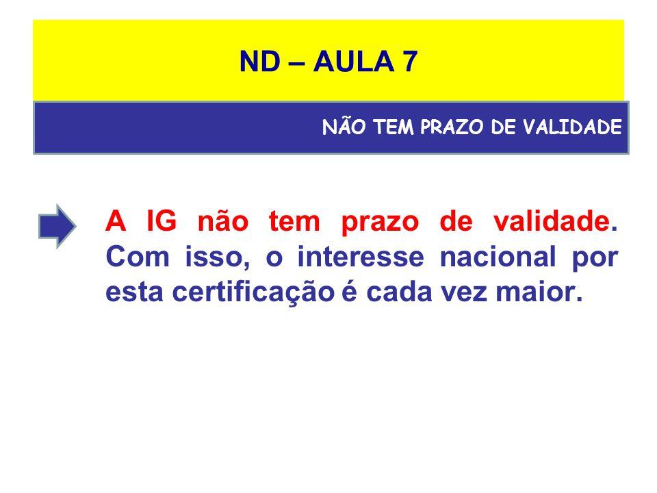 ND – AULA 7 A IG não tem prazo de validade.