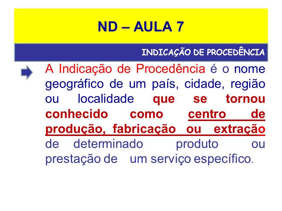 ND – AULA 7 A Indicação de Procedência é o nome geográfico de um país, cidade, região ou localidade que se tornou conhecido como centro de produção, fabricação ou extração de determinado produto ou prestação de um serviço específico.