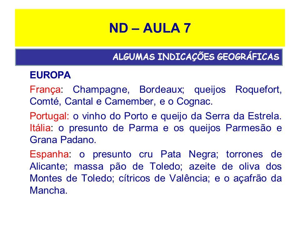 ND – AULA 7 EUROPA França: Champagne, Bordeaux; queijos Roquefort, Comté, Cantal e Camember, e o Cognac.