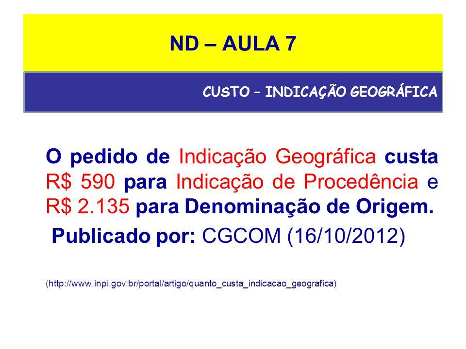 ND – AULA 7 O pedido de Indicação Geográfica custa R$ 590 para Indicação de Procedência e R$ 2.135 para Denominação de Origem.