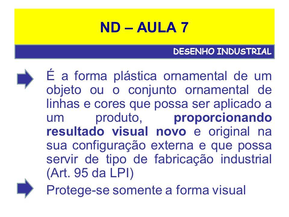 ND – AULA 7 É a forma plástica ornamental de um objeto ou o conjunto ornamental de linhas e cores que possa ser aplicado a um produto, proporcionando resultado visual novo e original na sua configuração externa e que possa servir de tipo de fabricação industrial (Art.