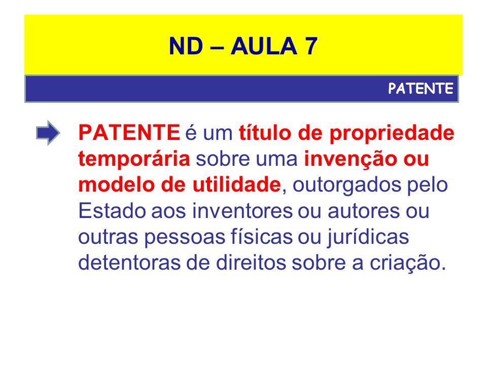 ND – AULA 7 PATENTE é um título de propriedade temporária sobre uma invenção ou modelo de utilidade, outorgados pelo Estado aos inventores ou autores ou outras pessoas físicas ou jurídicas detentoras de direitos sobre a criação.