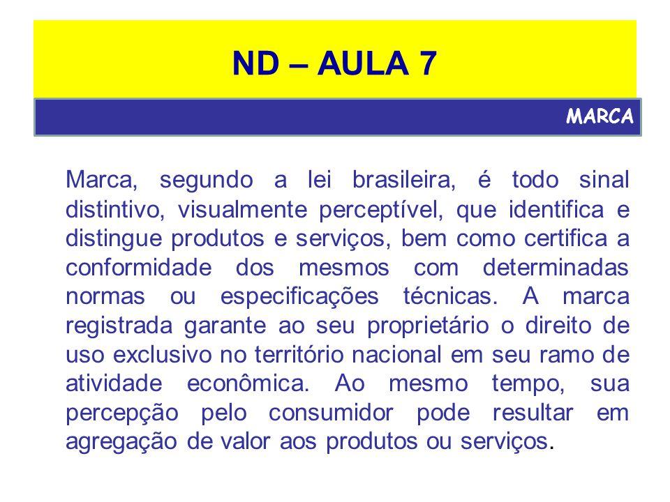 ND – AULA 7 Marca, segundo a lei brasileira, é todo sinal distintivo, visualmente perceptível, que identifica e distingue produtos e serviços, bem como certifica a conformidade dos mesmos com determinadas normas ou especificações técnicas.