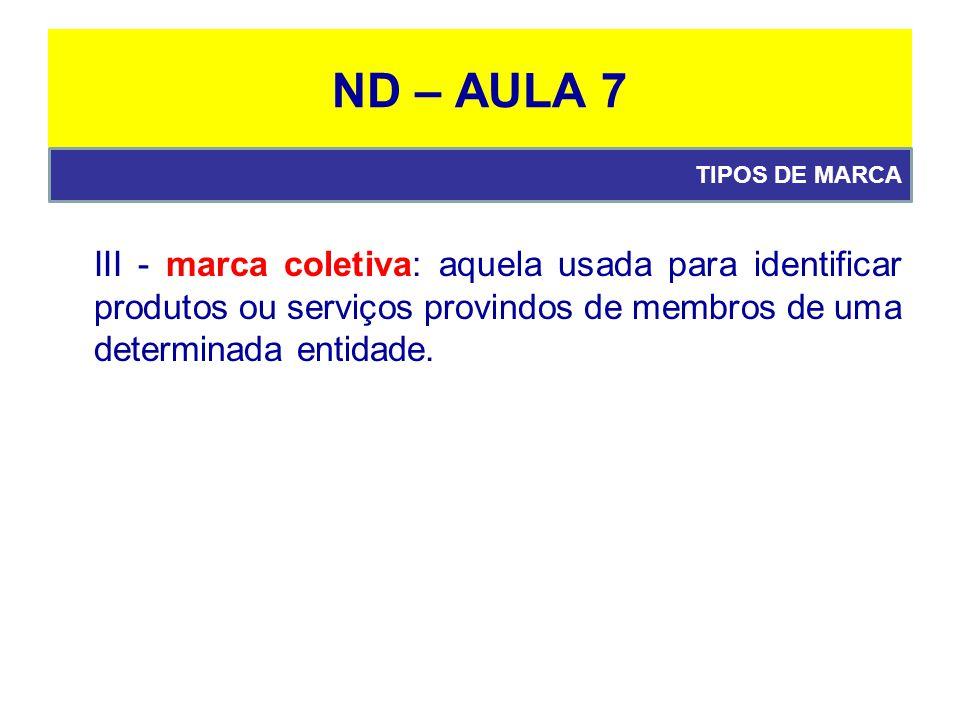 ND – AULA 7 III - marca coletiva: aquela usada para identificar produtos ou serviços provindos de membros de uma determinada entidade.