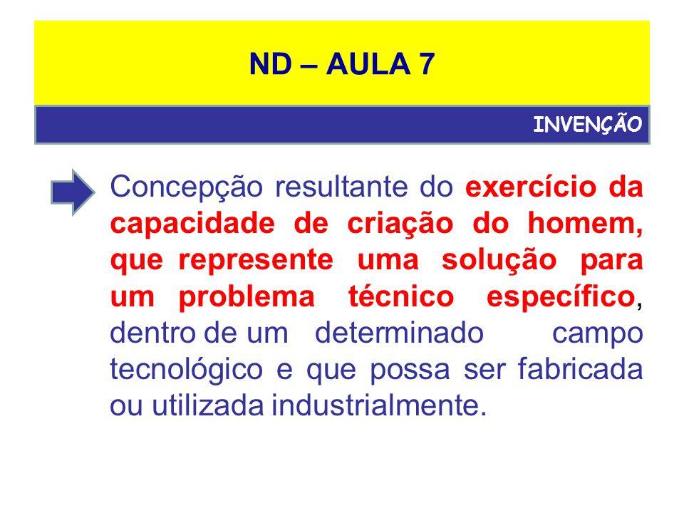 ND – AULA 7 Quando o objeto puder ser utilizado ou fabricado em qualquer tipo de indústria.