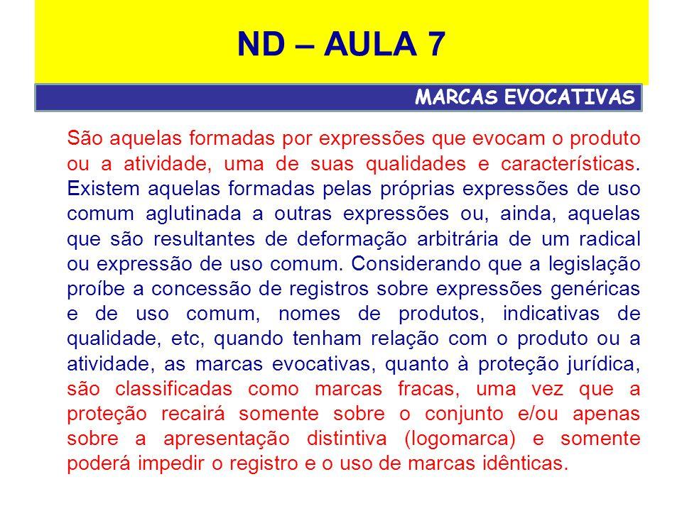 ND – AULA 7 São aquelas formadas por expressões que evocam o produto ou a atividade, uma de suas qualidades e características.