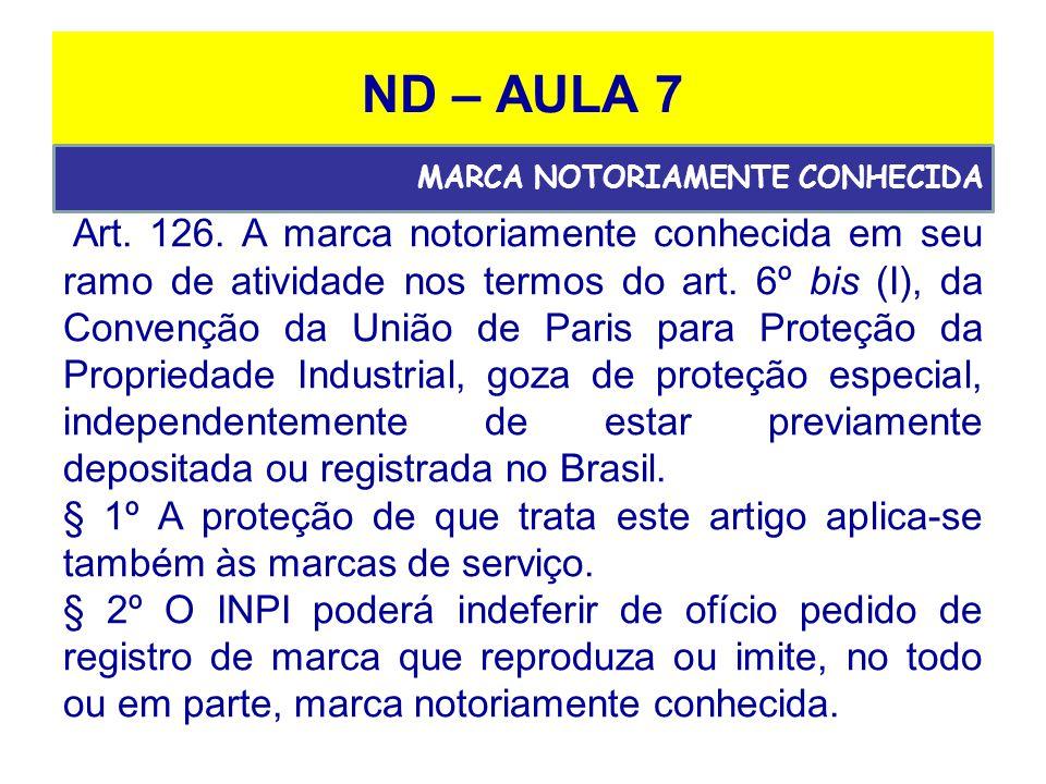 ND – AULA 7 Art.126. A marca notoriamente conhecida em seu ramo de atividade nos termos do art.