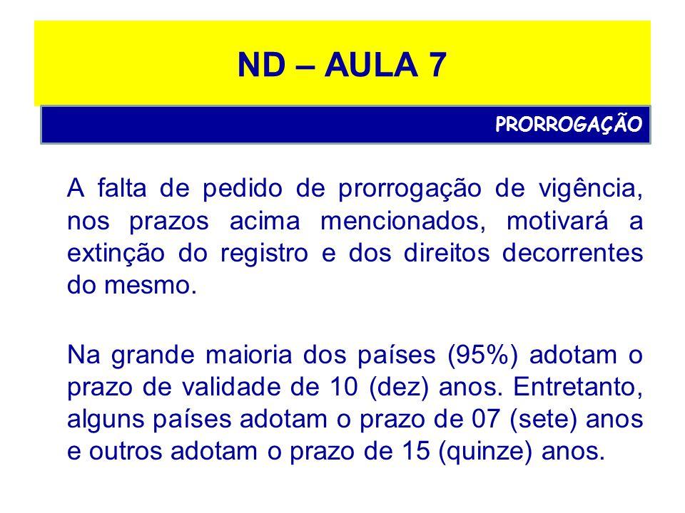 ND – AULA 7 A falta de pedido de prorrogação de vigência, nos prazos acima mencionados, motivará a extinção do registro e dos direitos decorrentes do mesmo.