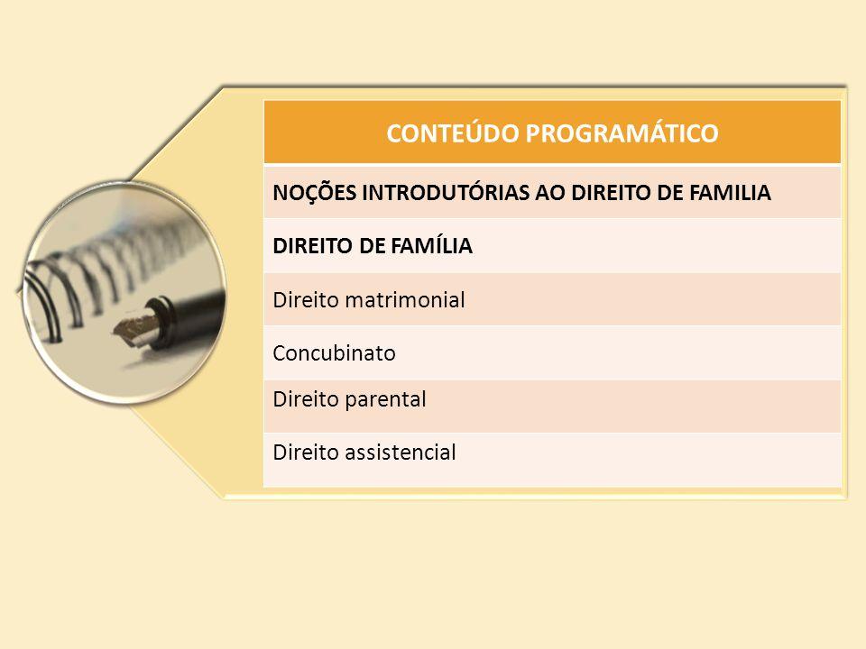 CONTEÚDO PROGRAMÁTICO NOÇÕES INTRODUTÓRIAS AO DIREITO DE FAMILIA DIREITO DE FAMÍLIA Direito matrimonial Concubinato Direito parental Direito assistenc