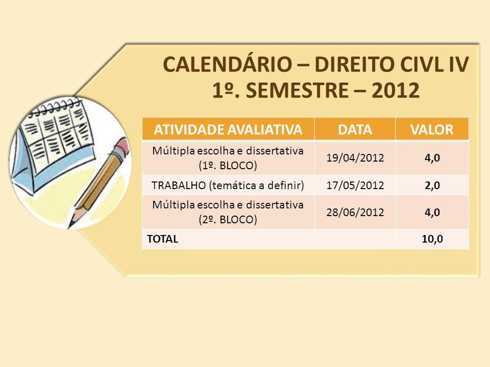 CALENDÁRIO – DIREITO CIVL IV 1º. SEMESTRE – 2012 ATIVIDADE AVALIATIVADATAVALOR Múltipla escolha e dissertativa (1º. BLOCO) 19/04/20124,0 TRABALHO (tem