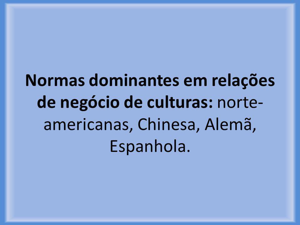 Normas dominantes em relações de negócio de culturas: norte- americanas, Chinesa, Alemã, Espanhola.