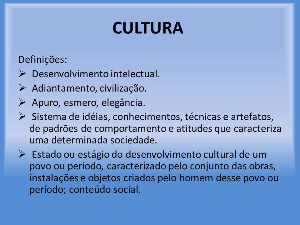 CULTURA Definições:  Desenvolvimento intelectual.  Adiantamento, civilização.  Apuro, esmero, elegância.  Sistema de idéias, conhecimentos, técnic
