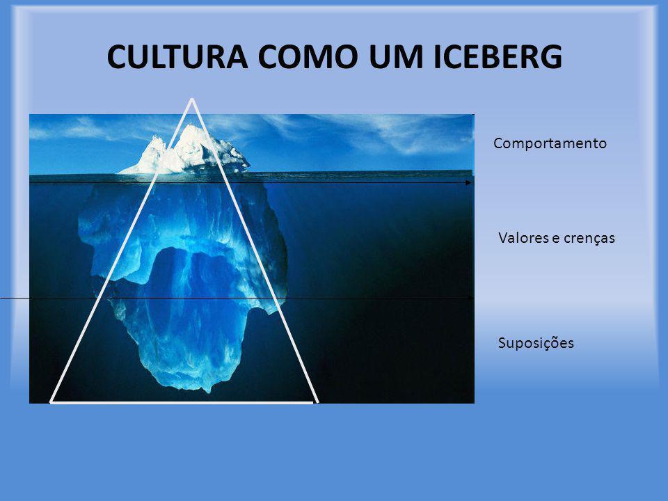 CULTURA COMO UM ICEBERG Comportamento Valores e crenças Suposições